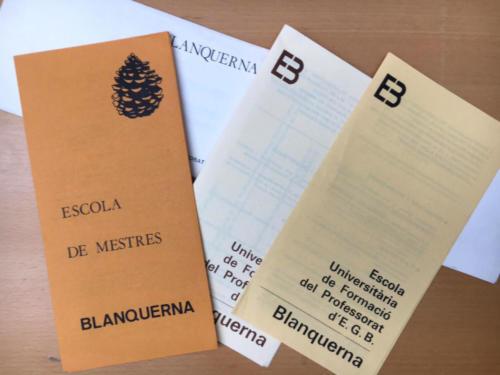 Fulletons de l'Escola de Mestres Blanquerna. Anys 80