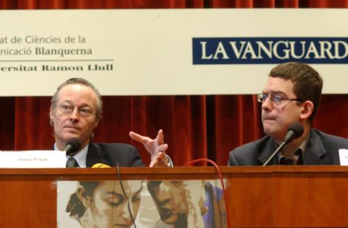 Josep Piqué i Francesc-Marc Àlvaro, a les Jornades de Comunicació Blanquerna. FCC. 2002