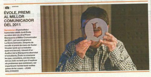 El periodista Jordi Évole, Premi al millor Comunicador de l'any 2012. FCC